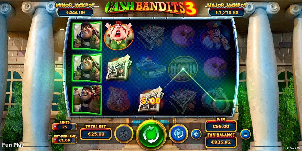 Raging Bull Casino - Cash Bandits 3 Pokie by RTG