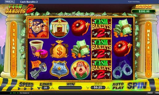 True Blue Casino Review - Cash Bandits 2 Pokie