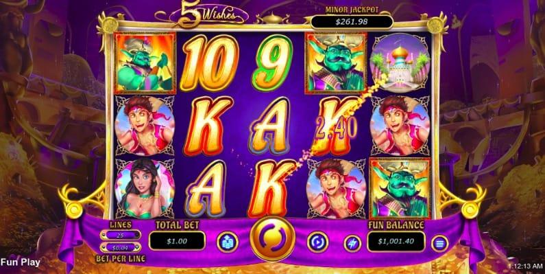5 Wishes Pokie at Aussie Play Casino