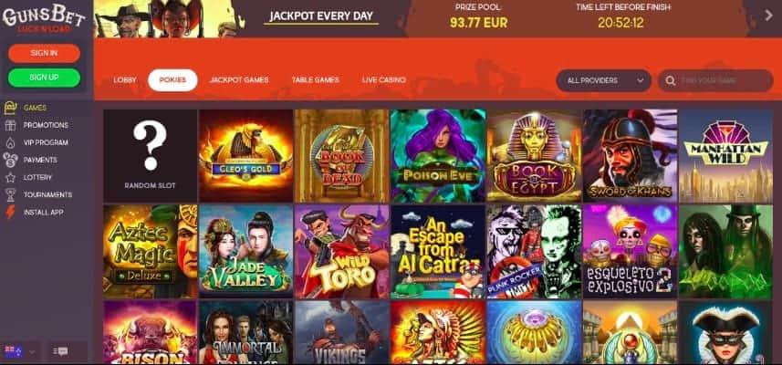 Gunsbet casino - pokies selection