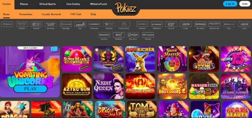 Slots Selection at PokieZ casino