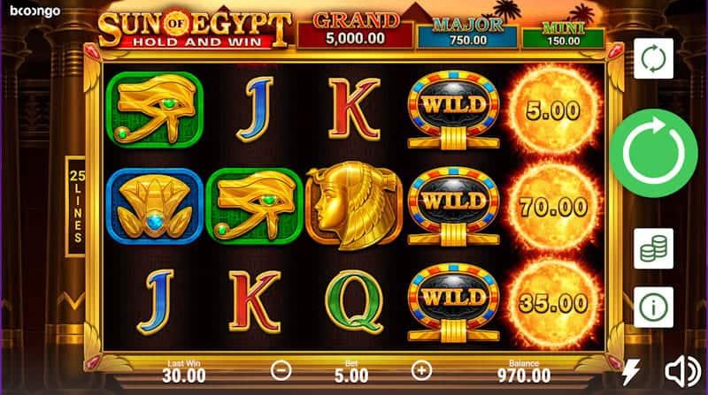 Playing Sun of Egypt Slot at Casino Rocket