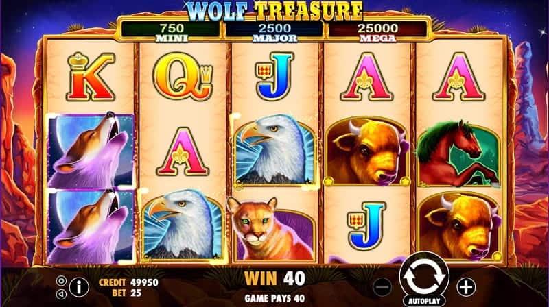 Playing Wolf Treasure Pokie Game at Casino Rocket