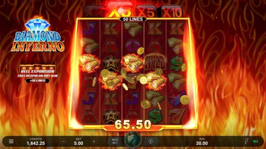 Diamond Inferno Pokie by Microgaming - GetSlots Casino