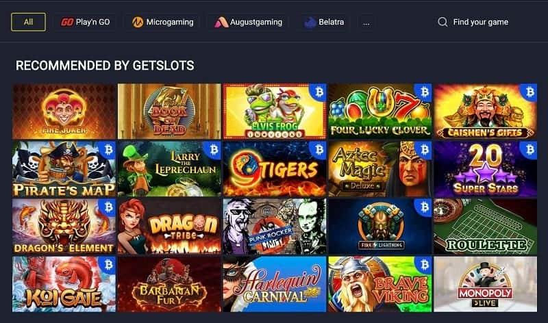 Pokies Selection at GetSlots Casino