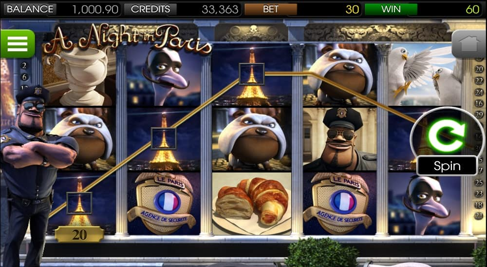 A Night in Paris Pokie by BetSoft at DuckyLuck Casino