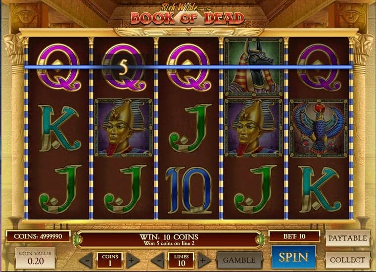 Book of Dead Pokie Game at King Billy Casino