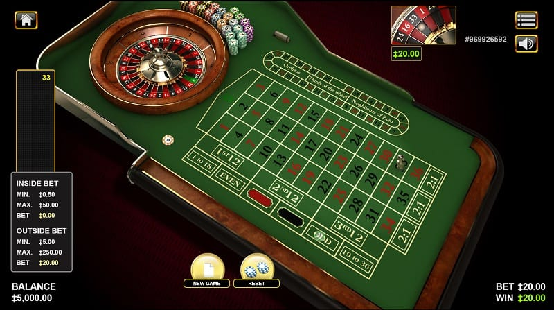 Roulette Game at King Billy Casino