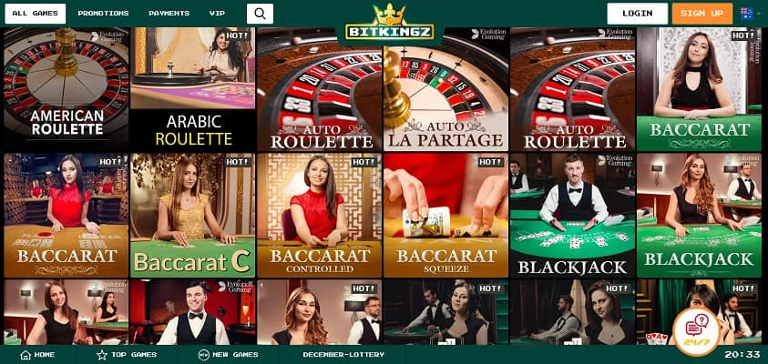 Bitkingz Casino Review - Live Casino Section