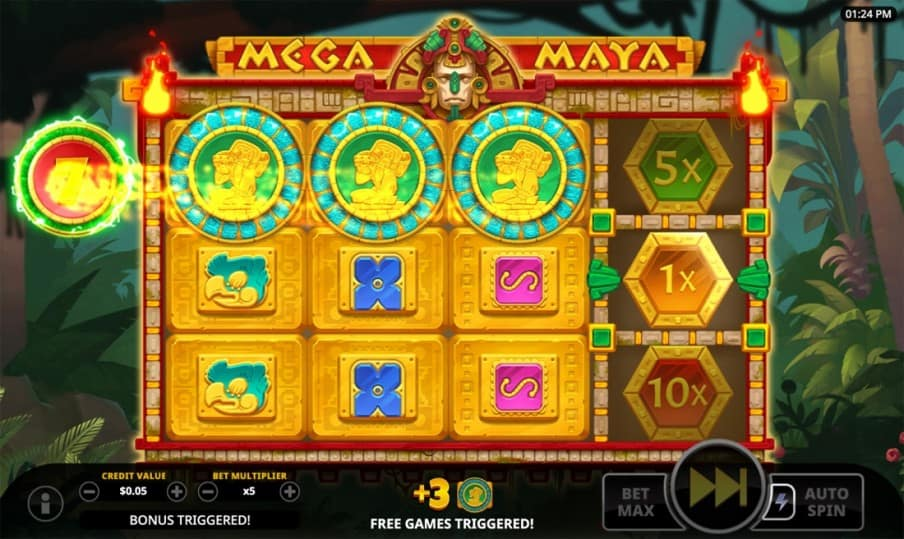 Mega Maya Pokie by Swintt at Bitkingz Casino