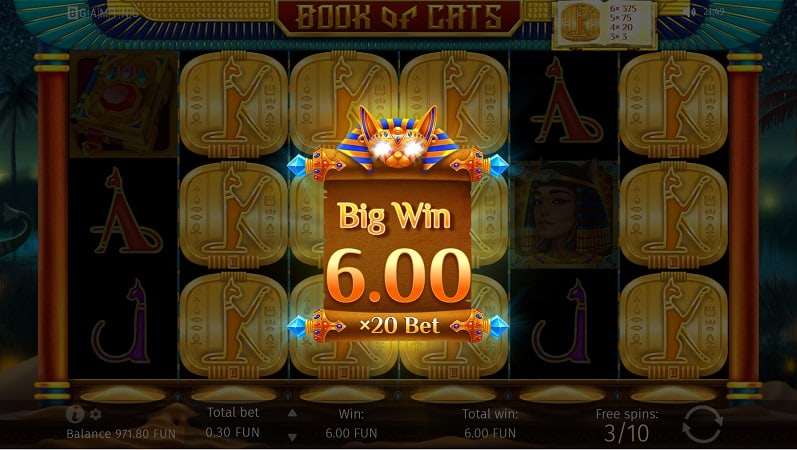 Free Spins Bonus on Book of Cats Slot by BGaming