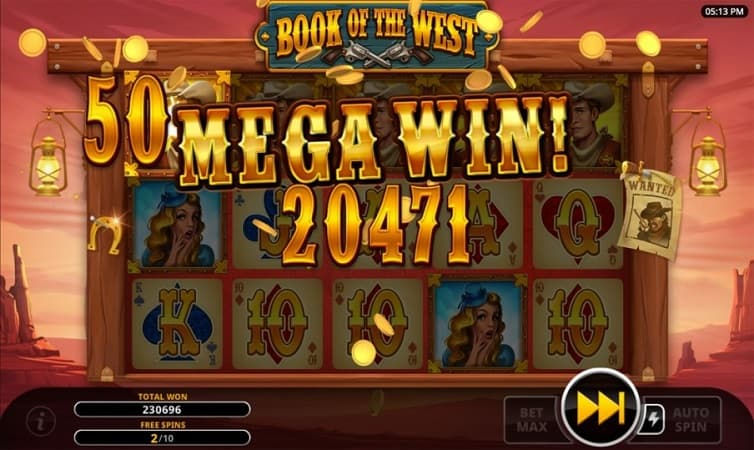 Free Spins Bonus on Book of The West pokie by Swintt