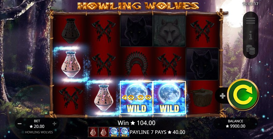 QueenSpins Review - Howling Wolves Pokie by Booming Games